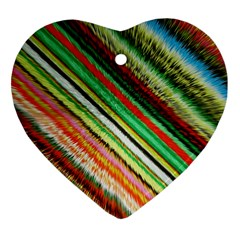 Colorful Stripe Extrude Background Heart Ornament (two Sides) by Simbadda
