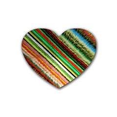 Colorful Stripe Extrude Background Rubber Coaster (heart)  by Simbadda