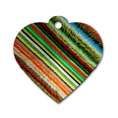 Colorful Stripe Extrude Background Dog Tag Heart (two Sides) by Simbadda