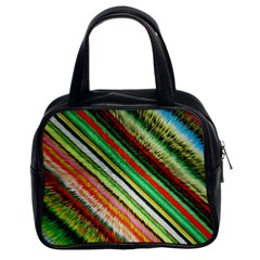 Colorful Stripe Extrude Background Classic Handbags (2 Sides) by Simbadda