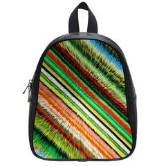 Colorful Stripe Extrude Background School Bags (small)  by Simbadda