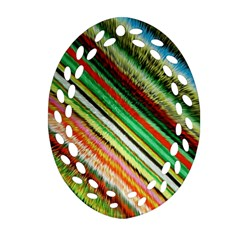 Colorful Stripe Extrude Background Ornament (oval Filigree) by Simbadda
