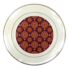 Abstract Seamless Mandala Background Pattern Porcelain Plates by Simbadda