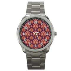 Abstract Seamless Mandala Background Pattern Sport Metal Watch by Simbadda