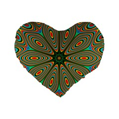 Vibrant Seamless Pattern  Colorful Standard 16  Premium Flano Heart Shape Cushions by Simbadda