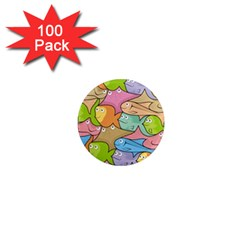 Fishes Cartoon 1  Mini Magnets (100 Pack)  by sifis