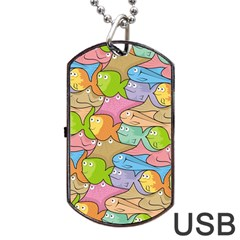 Fishes Cartoon Dog Tag Usb Flash (two Sides) by sifis