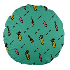Guitar Pineapple Large 18  Premium Flano Round Cushions by Alisyart