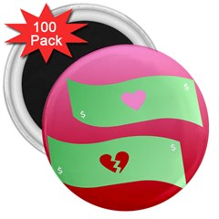 Money Green Pink Red Broken Heart Dollar Sign 3  Magnets (100 Pack) by Alisyart