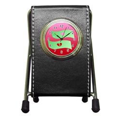 Money Green Pink Red Broken Heart Dollar Sign Pen Holder Desk Clocks by Alisyart
