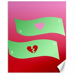 Money Green Pink Red Broken Heart Dollar Sign Canvas 11  X 14