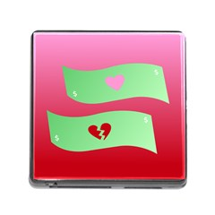 Money Green Pink Red Broken Heart Dollar Sign Memory Card Reader (square) by Alisyart