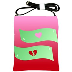 Money Green Pink Red Broken Heart Dollar Sign Shoulder Sling Bags by Alisyart