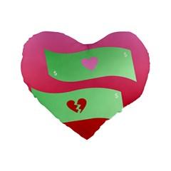 Money Green Pink Red Broken Heart Dollar Sign Standard 16  Premium Flano Heart Shape Cushions by Alisyart