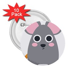 Mouse Grey Face 2 25  Buttons (10 Pack)  by Alisyart