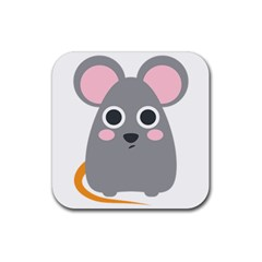 Mouse Grey Face Rubber Square Coaster (4 Pack)  by Alisyart