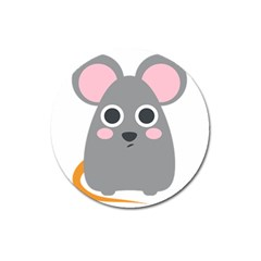Mouse Grey Face Magnet 3  (round) by Alisyart