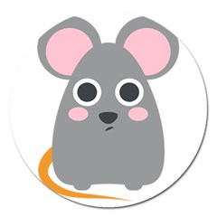 Mouse Grey Face Magnet 5  (round) by Alisyart