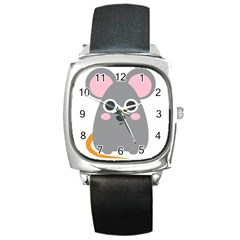 Mouse Grey Face Square Metal Watch by Alisyart