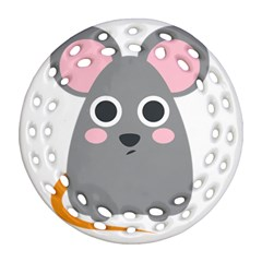 Mouse Grey Face Round Filigree Ornament (two Sides) by Alisyart
