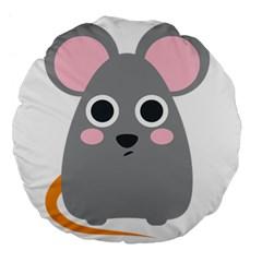 Mouse Grey Face Large 18  Premium Flano Round Cushions by Alisyart