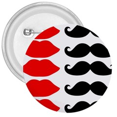 Mustache Black Red Lips 3  Buttons by Alisyart