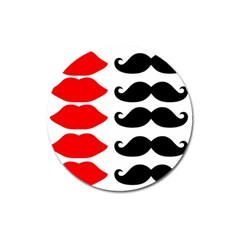 Mustache Black Red Lips Magnet 3  (round) by Alisyart