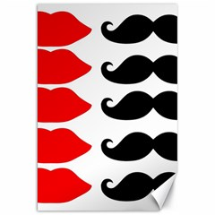 Mustache Black Red Lips Canvas 20  X 30   by Alisyart