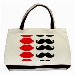 Mustache Black Red Lips Basic Tote Bag (two Sides) by Alisyart