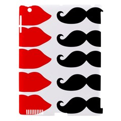 Mustache Black Red Lips Apple Ipad 3/4 Hardshell Case (compatible With Smart Cover) by Alisyart