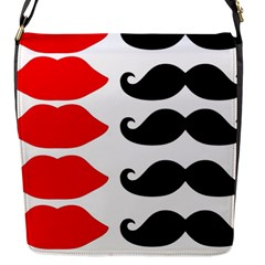 Mustache Black Red Lips Flap Messenger Bag (s) by Alisyart