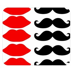 Mustache Black Red Lips Double Sided Flano Blanket (small)  by Alisyart