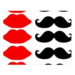 Mustache Black Red Lips Double Sided Flano Blanket (large)  by Alisyart