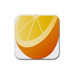 Orange Lime Yellow Fruit Fress Rubber Square Coaster (4 Pack)  by Alisyart
