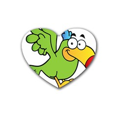 Parrot Cartoon Character Flying Rubber Coaster (heart)  by Alisyart