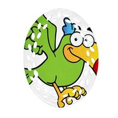 Parrot Cartoon Character Flying Ornament (oval Filigree) by Alisyart