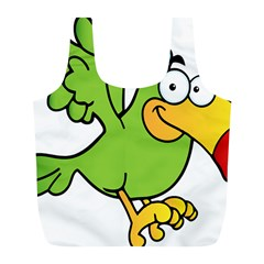 Parrot Cartoon Character Flying Full Print Recycle Bags (l)  by Alisyart