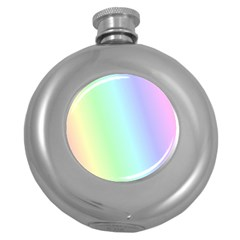 Multi Color Pastel Background Round Hip Flask (5 Oz)