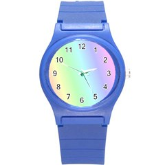 Multi Color Pastel Background Round Plastic Sport Watch (s) by Simbadda