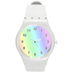 Multi Color Pastel Background Round Plastic Sport Watch (m) by Simbadda