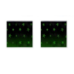 Nautical Star Green Space Light Cufflinks (square) by Alisyart