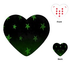 Nautical Star Green Space Light Playing Cards (heart)  by Alisyart