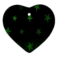Nautical Star Green Space Light Heart Ornament (two Sides) by Alisyart