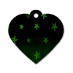 Nautical Star Green Space Light Dog Tag Heart (one Side) by Alisyart