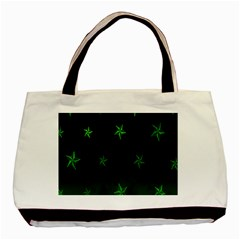 Nautical Star Green Space Light Basic Tote Bag (two Sides) by Alisyart