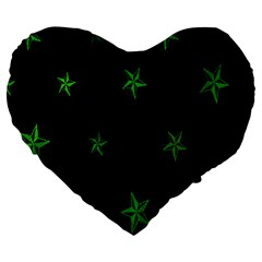 Nautical Star Green Space Light Large 19  Premium Heart Shape Cushions by Alisyart