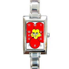Poppy Smirk Face Flower Red Yellow Rectangle Italian Charm Watch by Alisyart