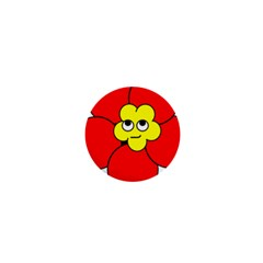 Poppy Smirk Face Flower Red Yellow 1  Mini Buttons by Alisyart