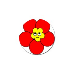 Poppy Smirk Face Flower Red Yellow Golf Ball Marker (10 Pack) by Alisyart