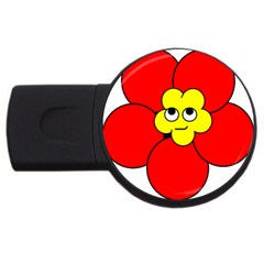Poppy Smirk Face Flower Red Yellow Usb Flash Drive Round (4 Gb) by Alisyart